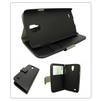 Microsonic Cüzdanlı Standlı Deri Kılıf - Samsung Galaxy S4 Active Siyah Cep Telefonu Kılıfı