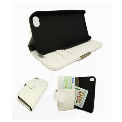 Microsonic Cüzdanlı Standlı Deri Kılıf - Iphone 4s Beyaz Cep Telefonu Kılıfı