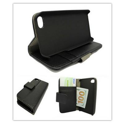Microsonic Cüzdanlı Standlı Deri Kılıf - Iphone 4s Siyah Cep Telefonu Kılıfı