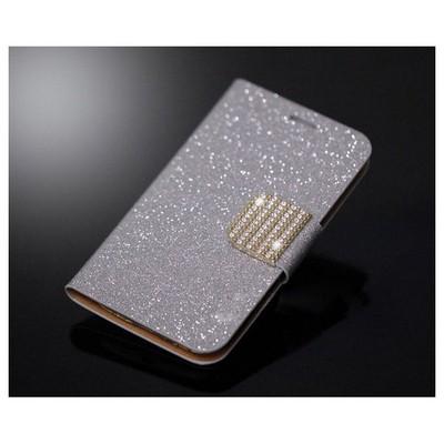 Microsonic Pearl Simli Taşlı Deri Kılıf - Samsung Galaxy Grand Duos I9082 Beyaz Cep Telefonu Kılıfı