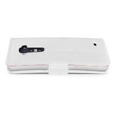Microsonic Cüzdanlı Deri Kılıf - Lg G Flex Beyaz Cep Telefonu Kılıfı