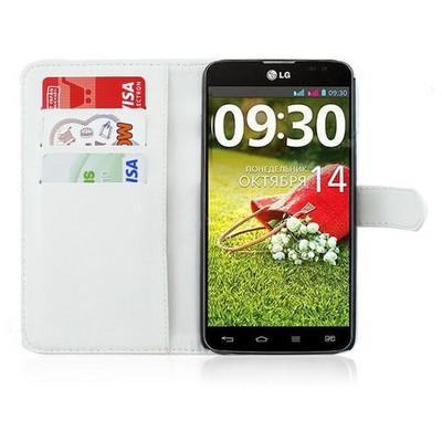 Microsonic Cüzdanlı Deri Kılıf - Lg G Pro Lite Beyaz Cep Telefonu Kılıfı