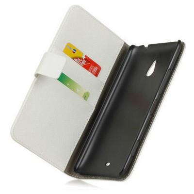 Microsonic Cüzdanlı Deri Kılıf - Nokia Lumia 1320 Beyaz Cep Telefonu Kılıfı