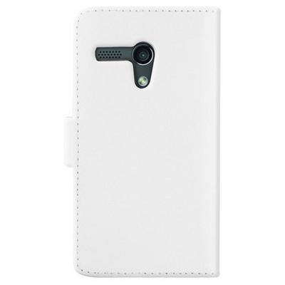 Microsonic Cüzdanlı Deri Kılıf - Motorola Moto G Beyaz Cep Telefonu Kılıfı
