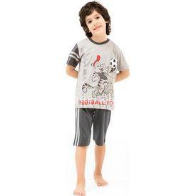 Roly Poly 2420 Erkek Çocuk Pijama Takımı Kapri Gri 1 Yaş (86 Cm) Erkek Bebek Pijaması