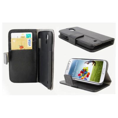 Microsonic Cüzdanlı Standlı Deri Kılıf - Samsung Galaxy S4 I9500 Siyah Cep Telefonu Kılıfı