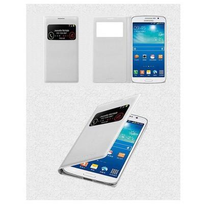 Microsonic View Cover Delux Kapaklı Kılıf Samsung Galaxy Grand 2 Akıllı Modlu Beyaz Cep Telefonu Kılıfı