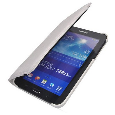 Microsonic 360 Rotating Stand Deri Kılıf Samsung Galaxy Tab 3 7.0 Lite T110 Beyaz Tablet Kılıfı