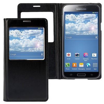Microsonic View Cover Delux Kapaklı Kılıf Samsung Galaxy S5 Akıllı Modlu Siyah Cep Telefonu Kılıfı
