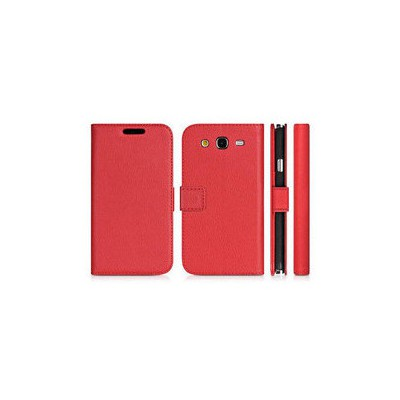 Microsonic Cüzdanlı Deri Kılıf - Samsung Galaxy Grand 2 Kırmızı Cep Telefonu Kılıfı