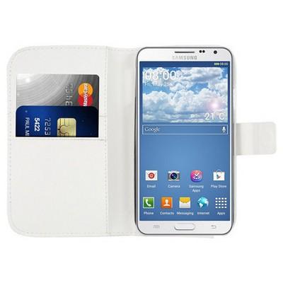 Microsonic Cüzdanlı Deri Kılıf - Samsung Galaxy Note 3 Neo Beyaz Cep Telefonu Kılıfı