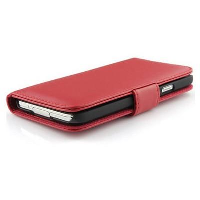Microsonic Cüzdanlı Deri Kılıf - Samsung Galaxy S5 Kırmızı Cep Telefonu Kılıfı