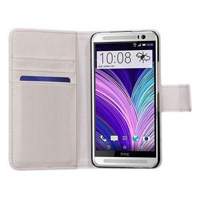 Microsonic Cüzdanlı Deri Kılıf - Htc One M8 Beyaz Cep Telefonu Kılıfı