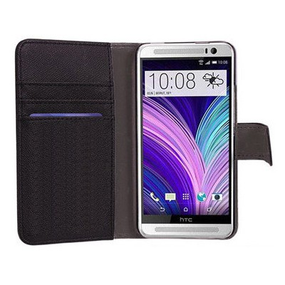 Microsonic Cüzdanlı Deri Kılıf - Htc One M8 Siyah Cep Telefonu Kılıfı