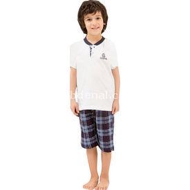 Roly Poly 2424 Erkek Çocuk Kapri Pijama Takımı Beyaz 1 Yaş (86 Cm) Erkek Bebek Pijaması