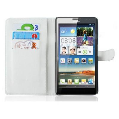 Microsonic Cüzdanlı Deri Kılıf - Huawei Ascend Mate Beyaz Cep Telefonu Kılıfı