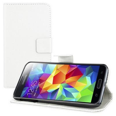 Microsonic Cüzdanlı Standlı Deri Kılıf - Samsung Galaxy S5 Beyaz Cep Telefonu Kılıfı