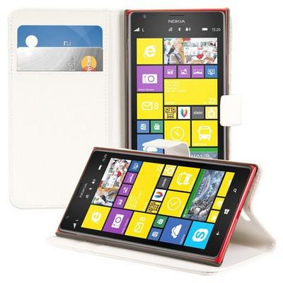 Microsonic Cüzdanlı Standlı Deri Kılıf - Nokia Lumia 1520 Beyaz Cep Telefonu Kılıfı