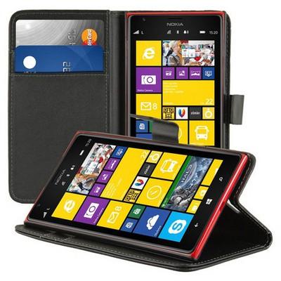 Microsonic Cüzdanlı Standlı Deri Kılıf - Nokia Lumia 1520 Siyah Cep Telefonu Kılıfı