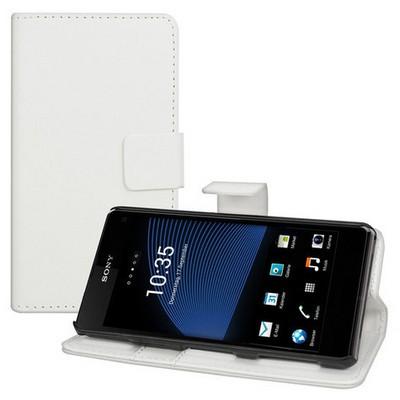 Microsonic Cüzdanlı Standlı Deri Kılıf - Sony Xperia Z1 Compact Beyaz Cep Telefonu Kılıfı