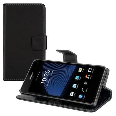 Microsonic Cüzdanlı Standlı Deri Kılıf - Sony Xperia Z1 Compact Siyah Cep Telefonu Kılıfı