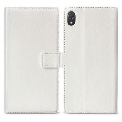 Microsonic Cüzdanlı Standlı Deri Kılıf - Sony Xperia Z2 Beyaz Cep Telefonu Kılıfı