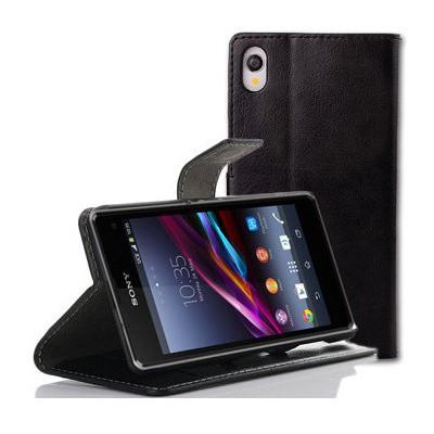 Microsonic Cüzdanlı Standlı Deri Kılıf - Sony Xperia Z2 Siyah Cep Telefonu Kılıfı