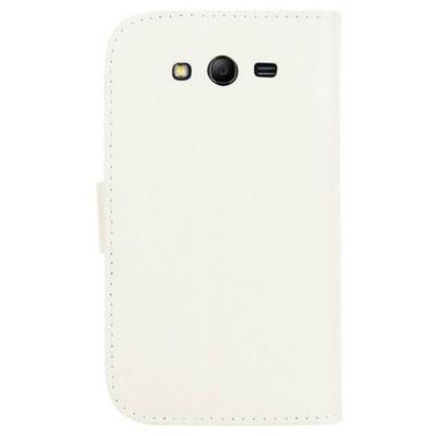 Microsonic Cüzdanlı Standlı Deri Kılıf - Samsung Galaxy Grand Neo I9060 I9062 Beyaz Cep Telefonu Kılıfı