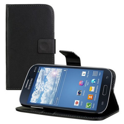 Microsonic Cüzdanlı Standlı Deri Kılıf - Samsung Galaxy Grand Neo I9060 I9062 Siyah Cep Telefonu Kılıfı