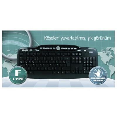 Hiper F-3075 Kablolu,f,tr,usb,multimedya ,siyah Klavye