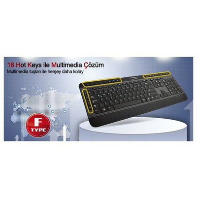 Hiper F-3900 Kablolu,f,tr,usb,multimedya Slim ,siyah Klavye