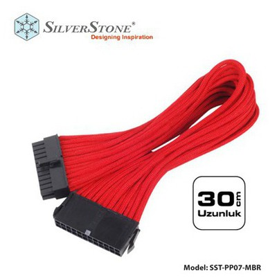Silverston Sst-pp07-mbr 24 Pin - 20+4 Pin Kırmızı 30cm Uzatma Kablosu Kasa İçi Kablolar