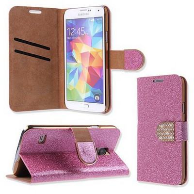 Microsonic Pearl Simli Taşlı Deri Samsung Galaxy S5 Kılıf - Pembe Cep Telefonu Kılıfı