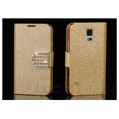 Microsonic Pearl Simli Taşlı Deri Samsung Galaxy S5 Kılıf - Sarı Cep Telefonu Kılıfı