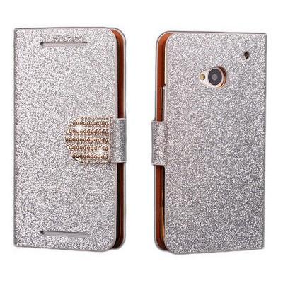 Microsonic Pearl Simli Taşlı Deri Kılıf - Htc One M7 Beyaz Cep Telefonu Kılıfı