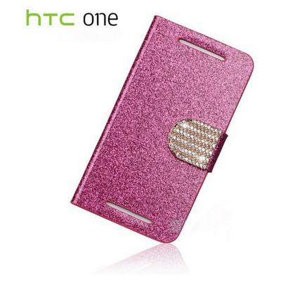 Microsonic Pearl Simli Taşlı Deri Kılıf - Htc One M7 Pembe Cep Telefonu Kılıfı