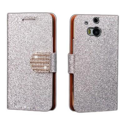 Microsonic Pearl Simli Taşlı Deri Htc One M8 Kılıf - Beyaz Cep Telefonu Kılıfı
