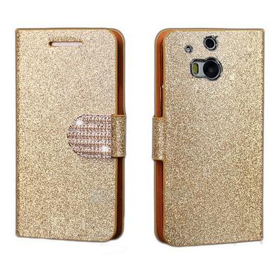 Microsonic Pearl Simli Taşlı Deri Htc One M8 Kılıf - Sarı Cep Telefonu Kılıfı