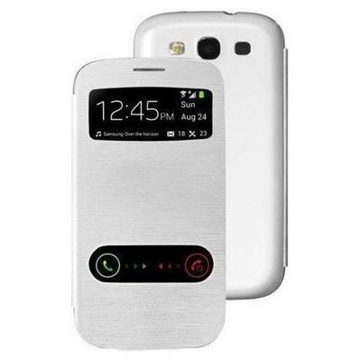 Microsonic View Cover Delux Kapaklı Samsung Galaxy Grand Neo I9060 Kılıf Beyaz Cep Telefonu Kılıfı