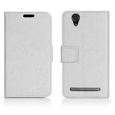 Microsonic Cüzdanlı Deri Sony Xperia T2 Ultra Kılıf Beyaz Cep Telefonu Kılıfı