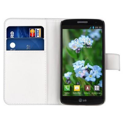 Microsonic Cüzdanlı Deri Lg G2 Mini Kılıf Beyaz Cep Telefonu Kılıfı