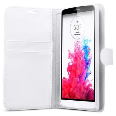 Microsonic Cüzdanlı Deri Lg G3 Kılıf Beyaz Cep Telefonu Kılıfı
