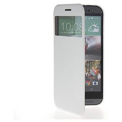 Microsonic View Cover Delux Kapaklı Htc One M8 Kılıf Beyaz Cep Telefonu Kılıfı