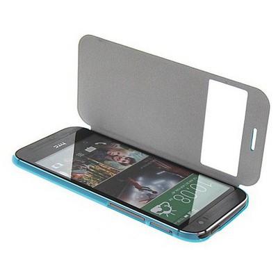 Microsonic View Cover Delux Kapaklı Htc One M8 Kılıf Mavi Cep Telefonu Kılıfı