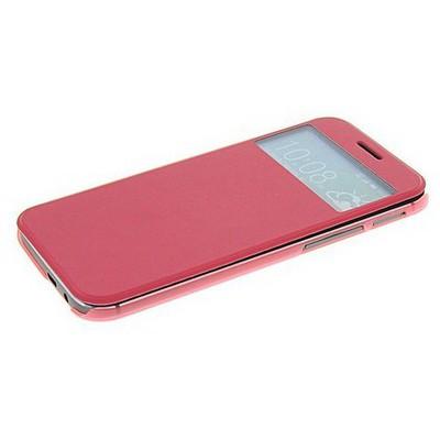 Microsonic View Cover Delux Kapaklı Htc One M8 Kılıf Pembe Cep Telefonu Kılıfı