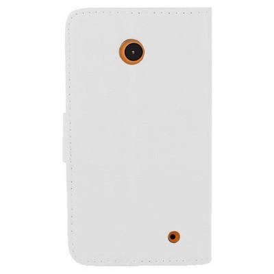 Microsonic Cüzdanlı Deri Nokia Lumia 630 / 635 Kılıf Beyaz Cep Telefonu Kılıfı