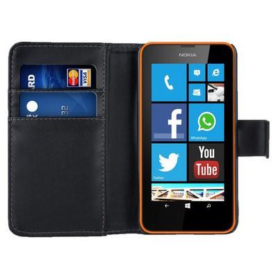 Microsonic Cüzdanlı Deri Nokia Lumia 630 / 635 Kılıf Siyah Cep Telefonu Kılıfı