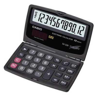 Casio Sx-220 12 Hane Cep Hesap Makinesi