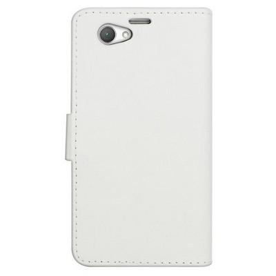 Microsonic Cüzdanlı Deri Sony Xperia Z1 Compact Kılıf Beyaz Cep Telefonu Kılıfı