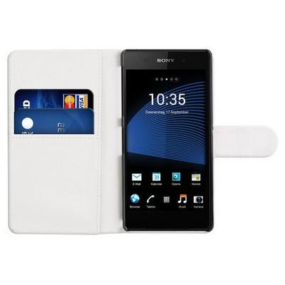 Microsonic Cüzdanlı Deri Sony Xperia Z2 Kılıf Beyaz Cep Telefonu Kılıfı